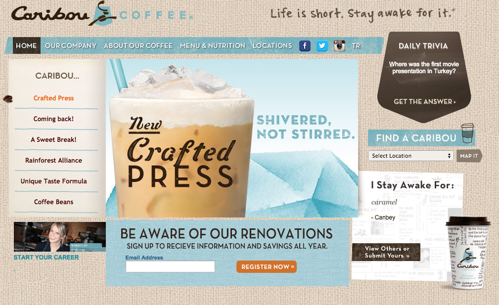 Client: Knock Inc. for Caribou Coffee