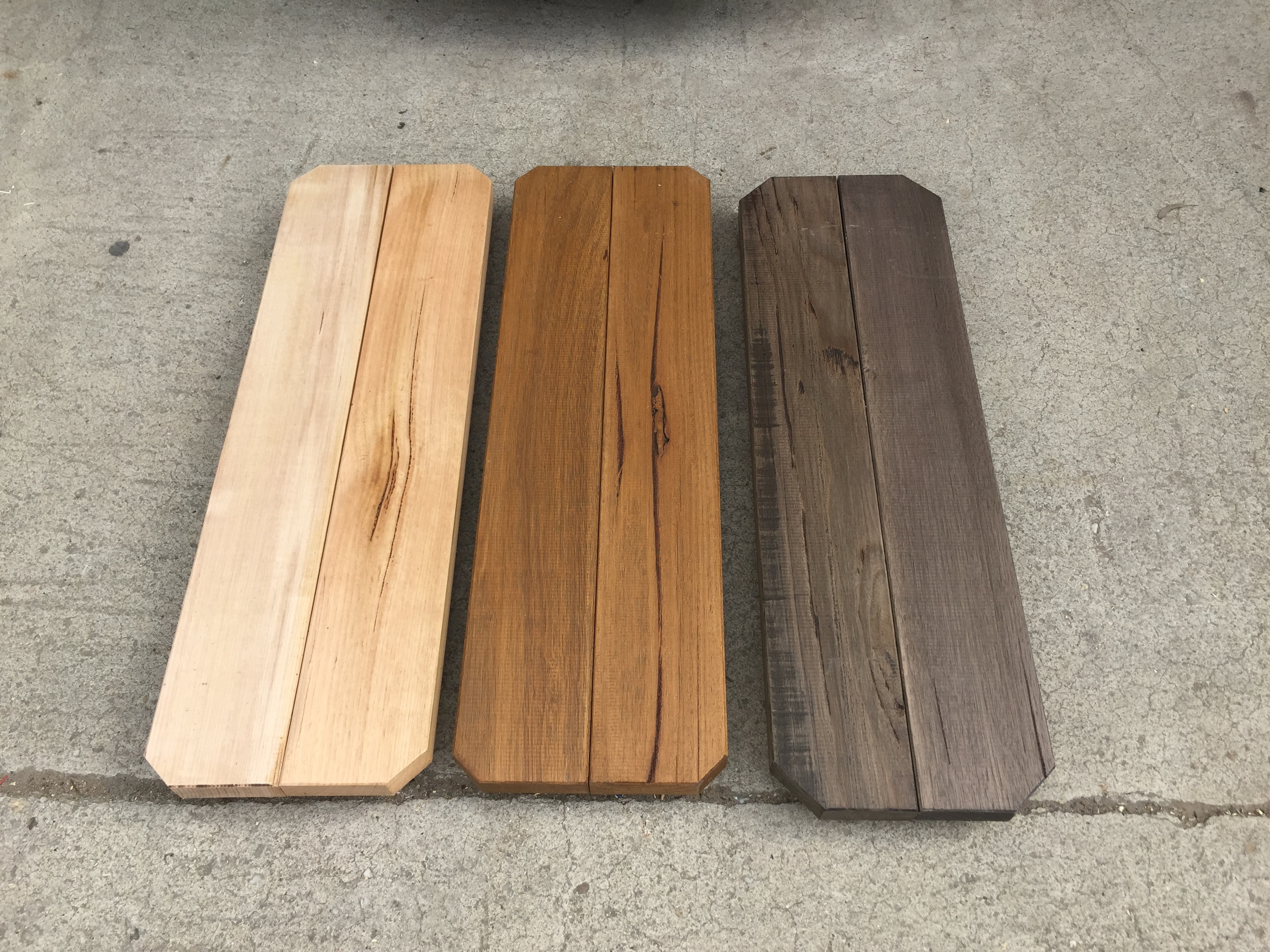 Weatherproof Varnish, Mahogany Stain, Grey Stain