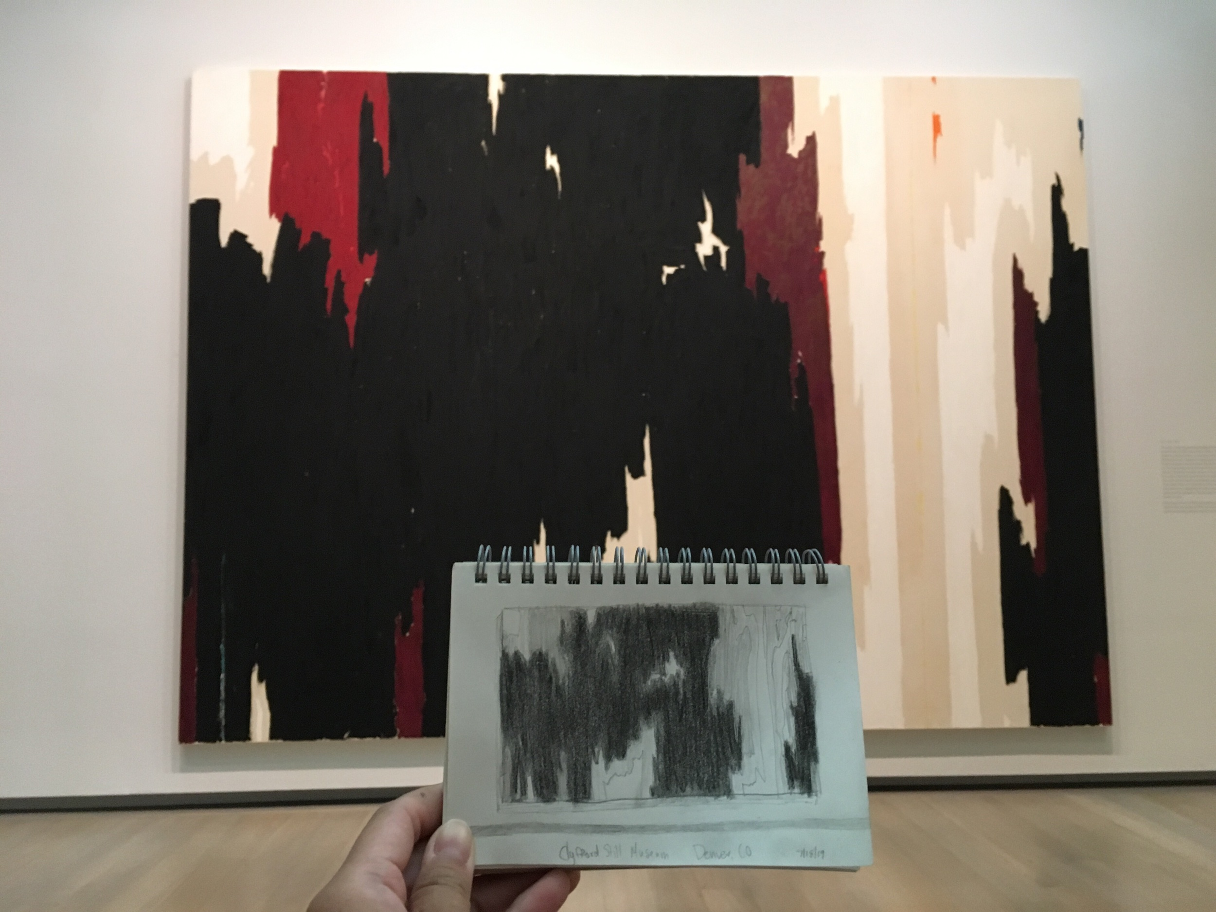 A little sketch of a painting at the Clyfford Still Museum.