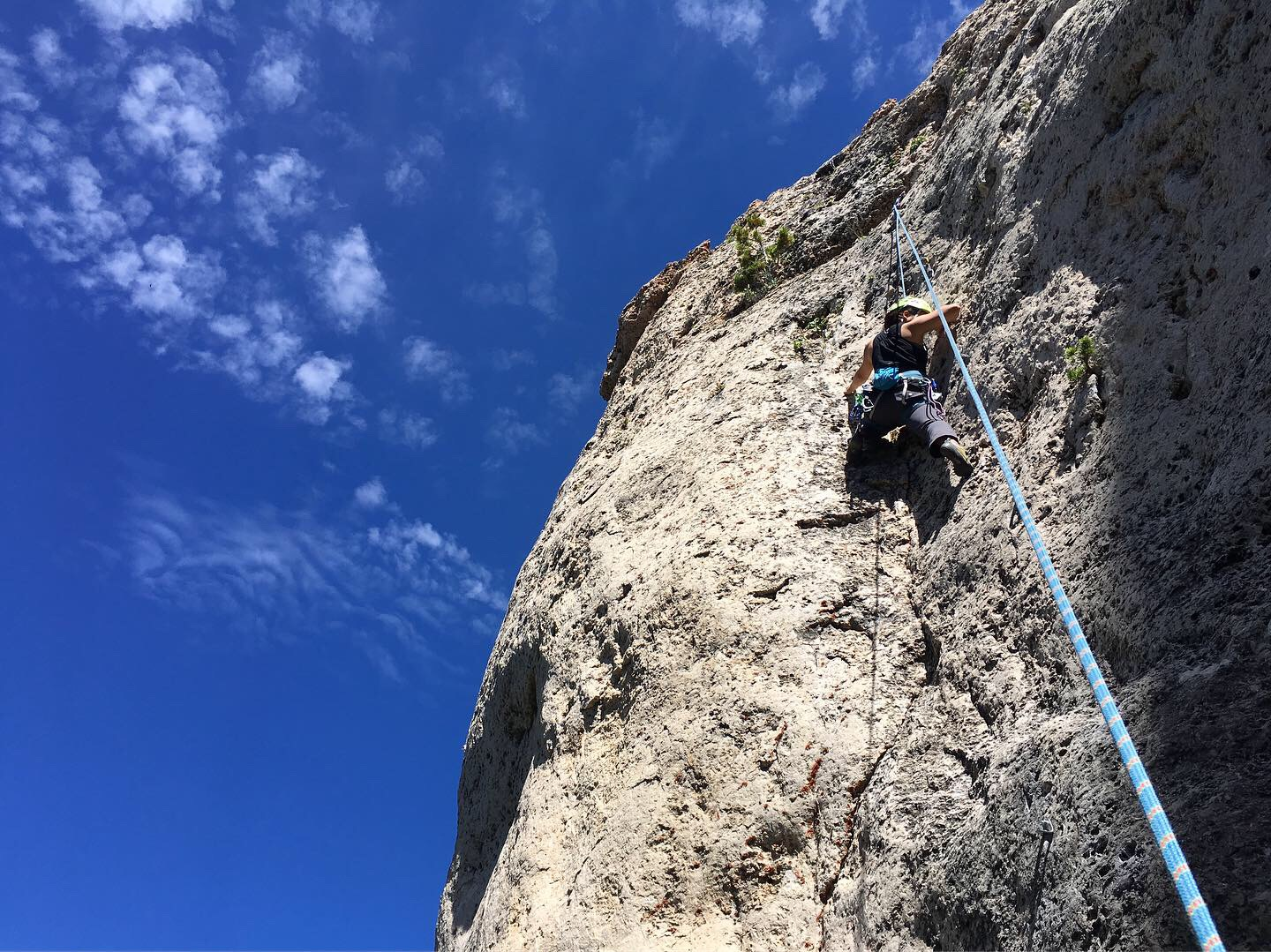 Jess on our first climb in Wild Iris!