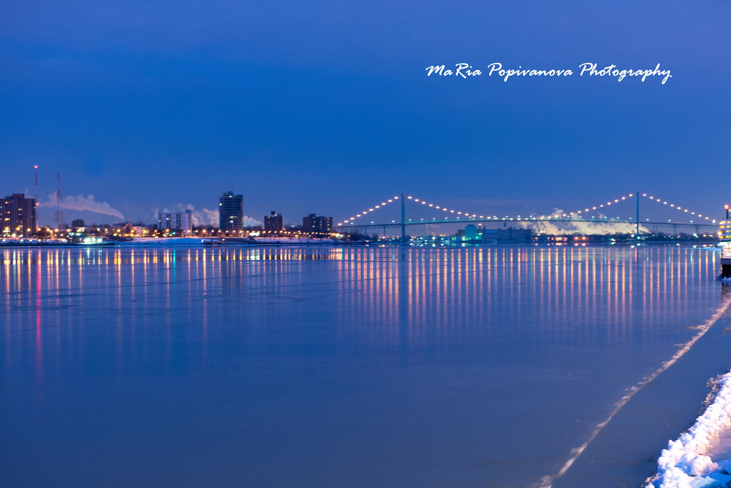 Ambassador Bridge at sunrise