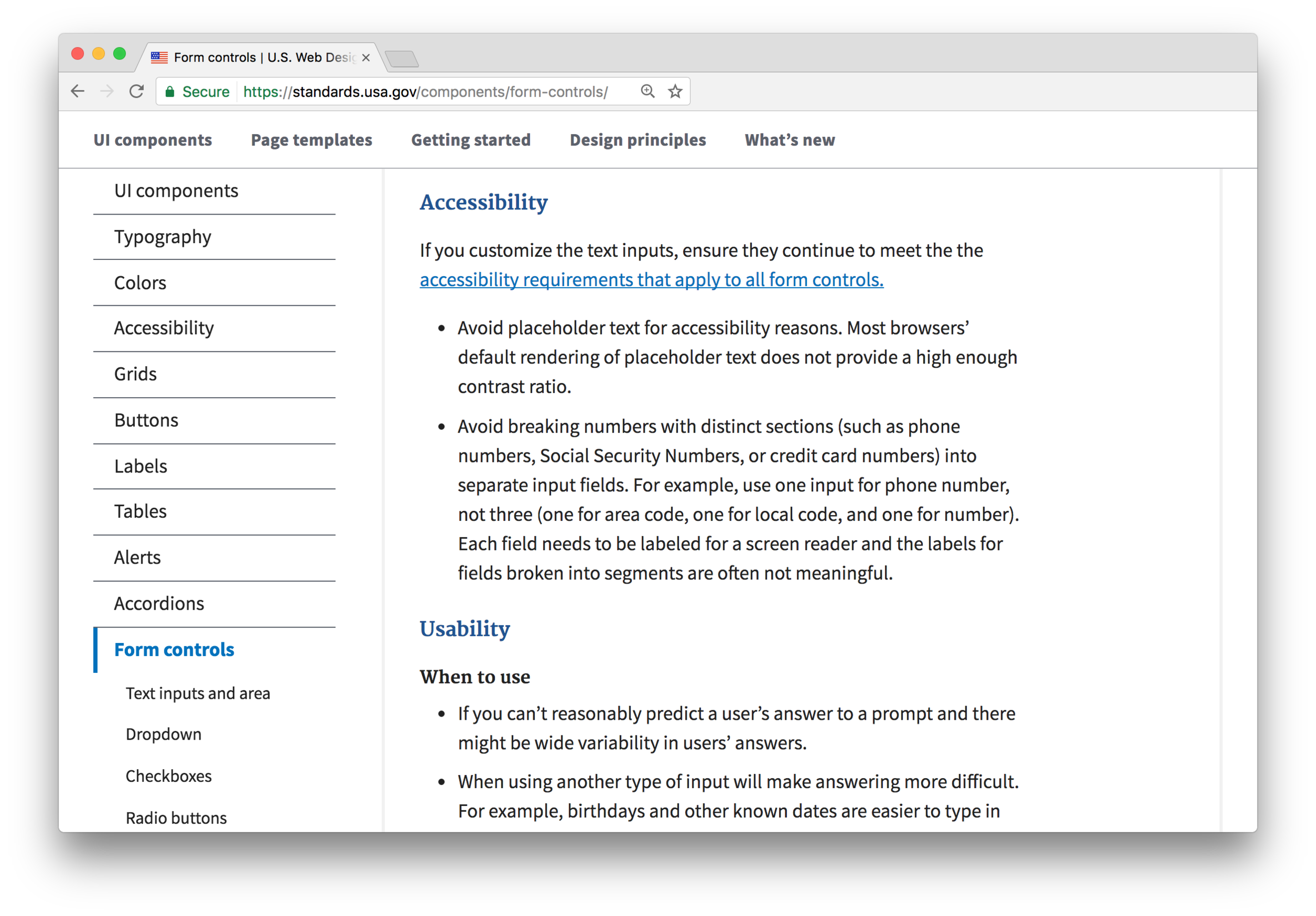 Accessibility and usability considerations for form controls