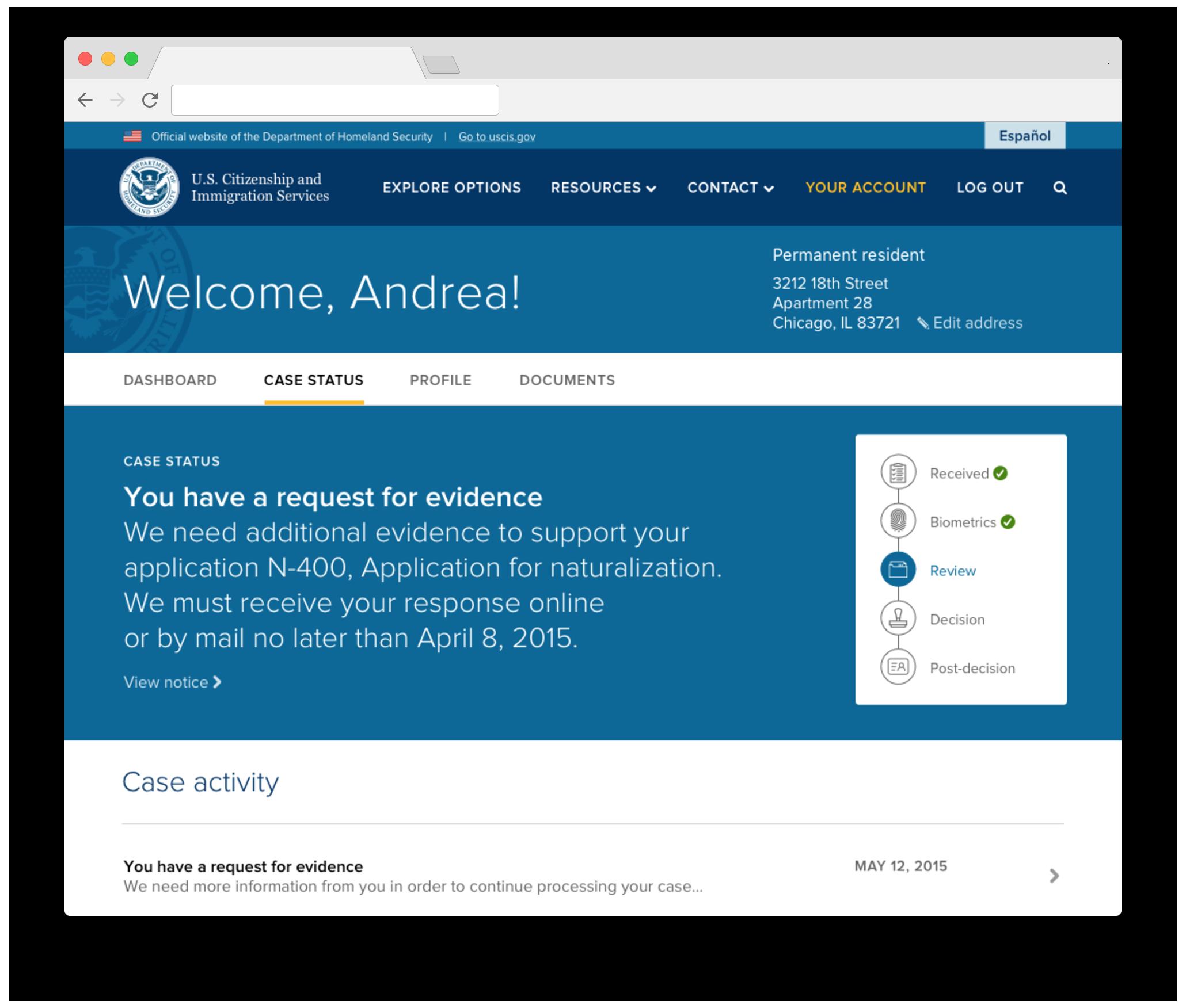 Case status (prototype)
