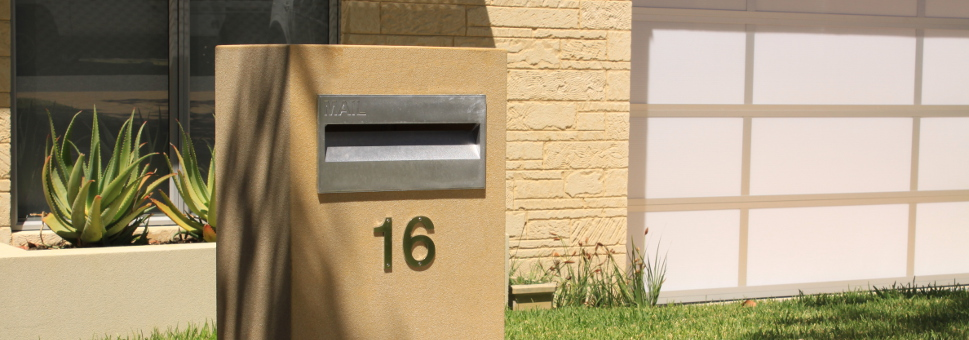 Modern design , easy to install, and available in a variety of styles. Call us today about the  Key Largo  residential mailbox.