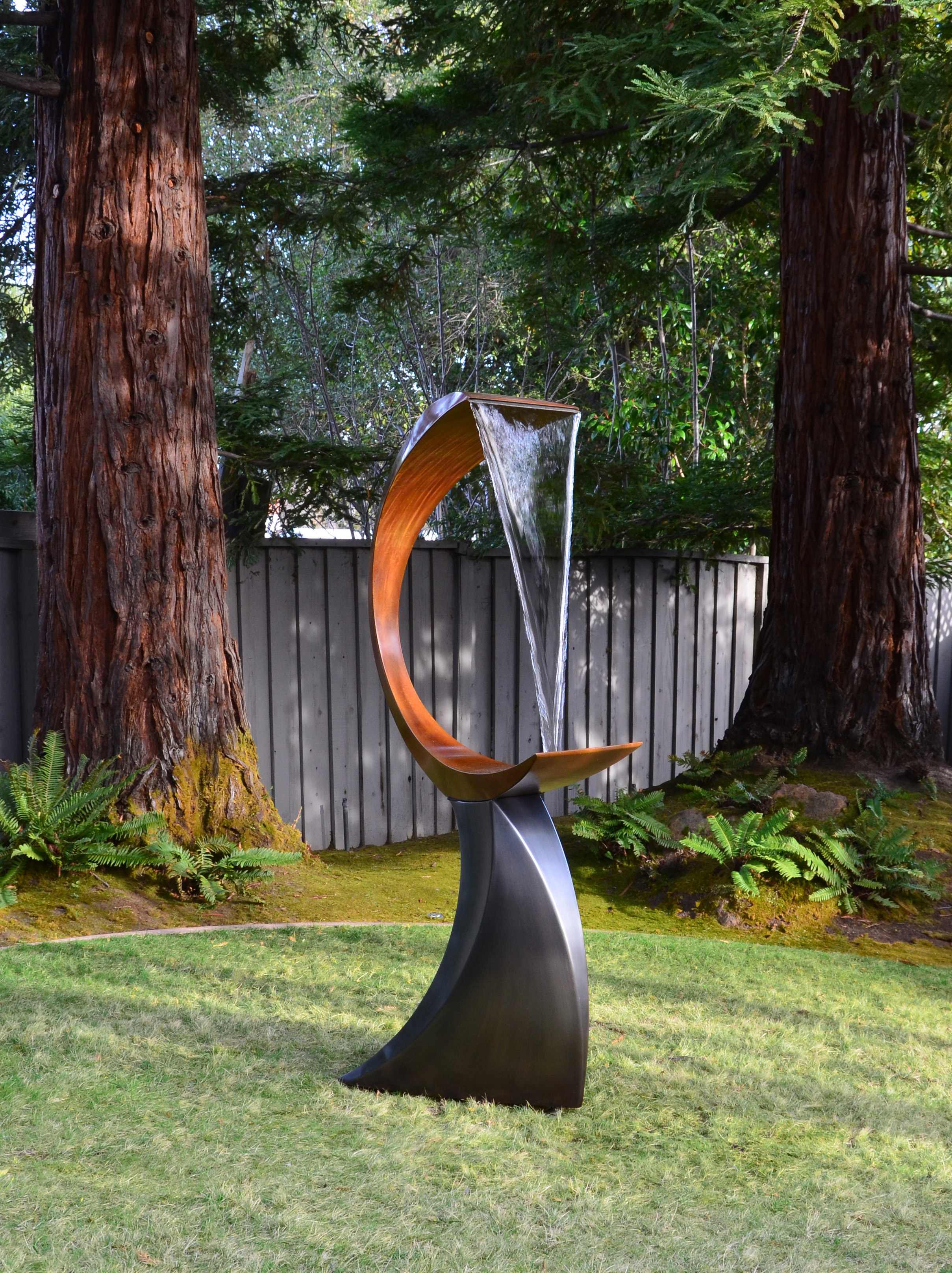 "Decant ,  Bronze, Stainless Steel, Water,  62"" x 38"" x 18"""