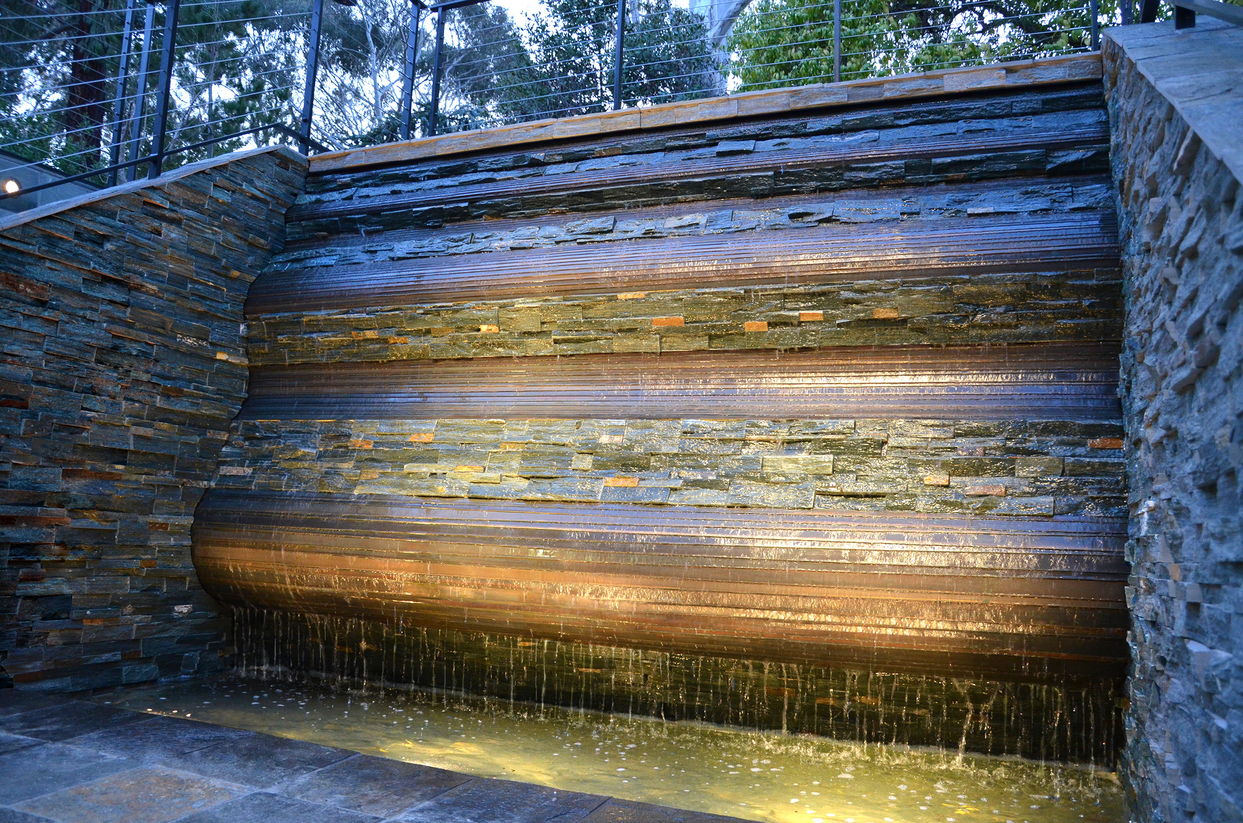 Falling Wave ,  Bronze, Slate, Water,   8' x 10' x 4',  2010,  Private Residence, Stanford, CA