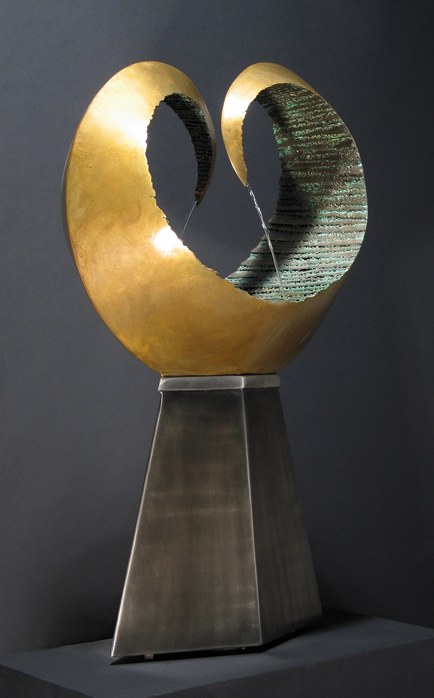 "Convergence ,     Bronze, Stainless Steel, Water,  33"" x 21"" x 12"",  2007"