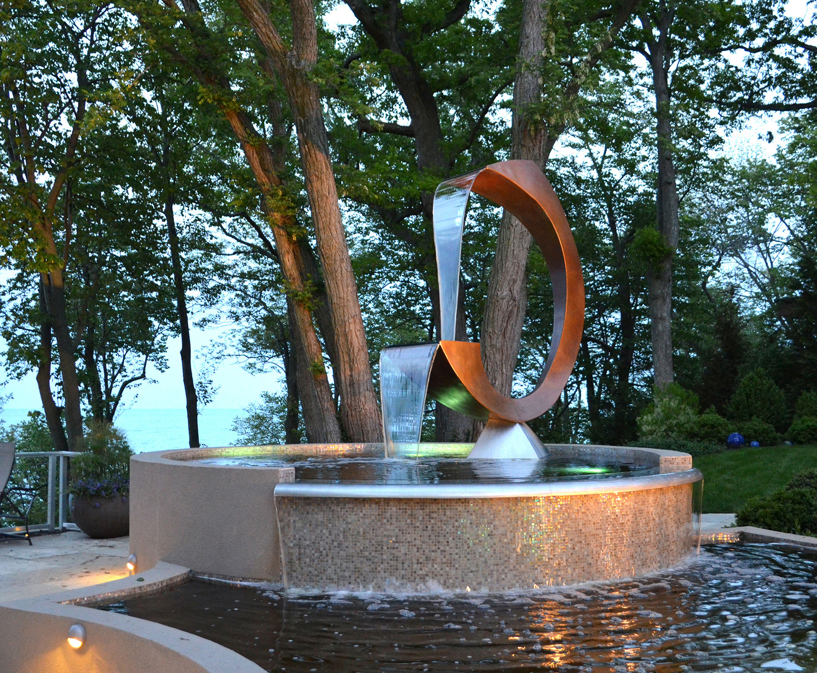 Untitled Water Feature,   Bronze, Stainless Steel, Water,  12' x 7' x 3',  2011 , Private Residence, Highland Park, IL
