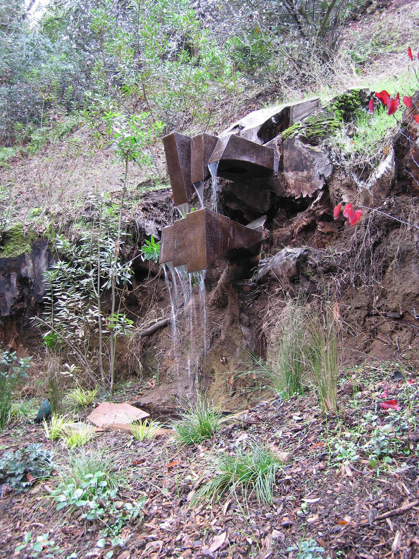 Outcropping Cascade ,     Bronze & Water,  9' x 3' x 4',  2007,  Private Residence, Portola Valley, CA