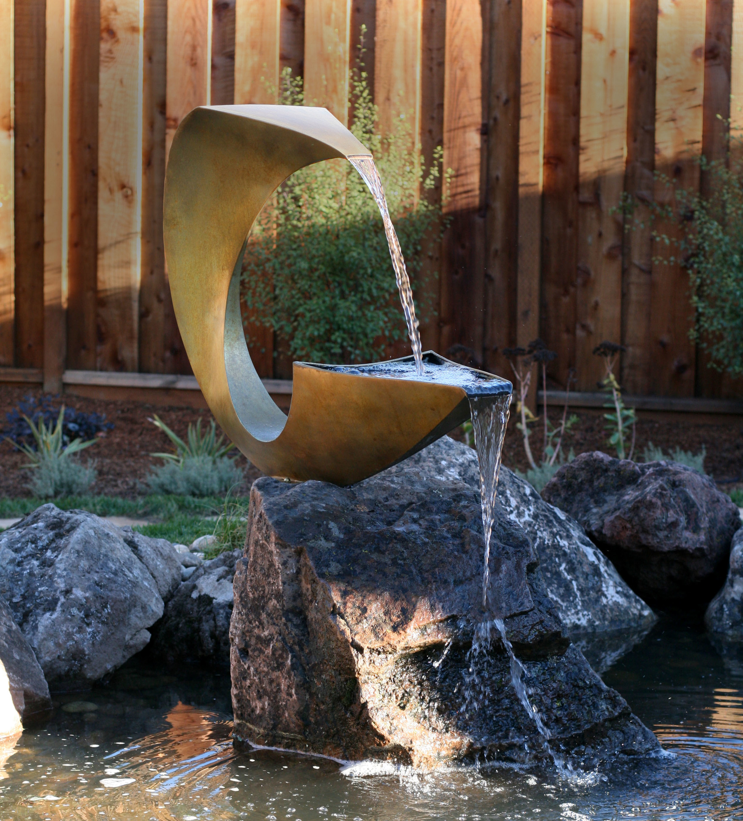 """Double Quencheet , Bronze & Water,  58"""" x 38"""" x 15"""", 2009, Private Residence, Los Altos, CA"""