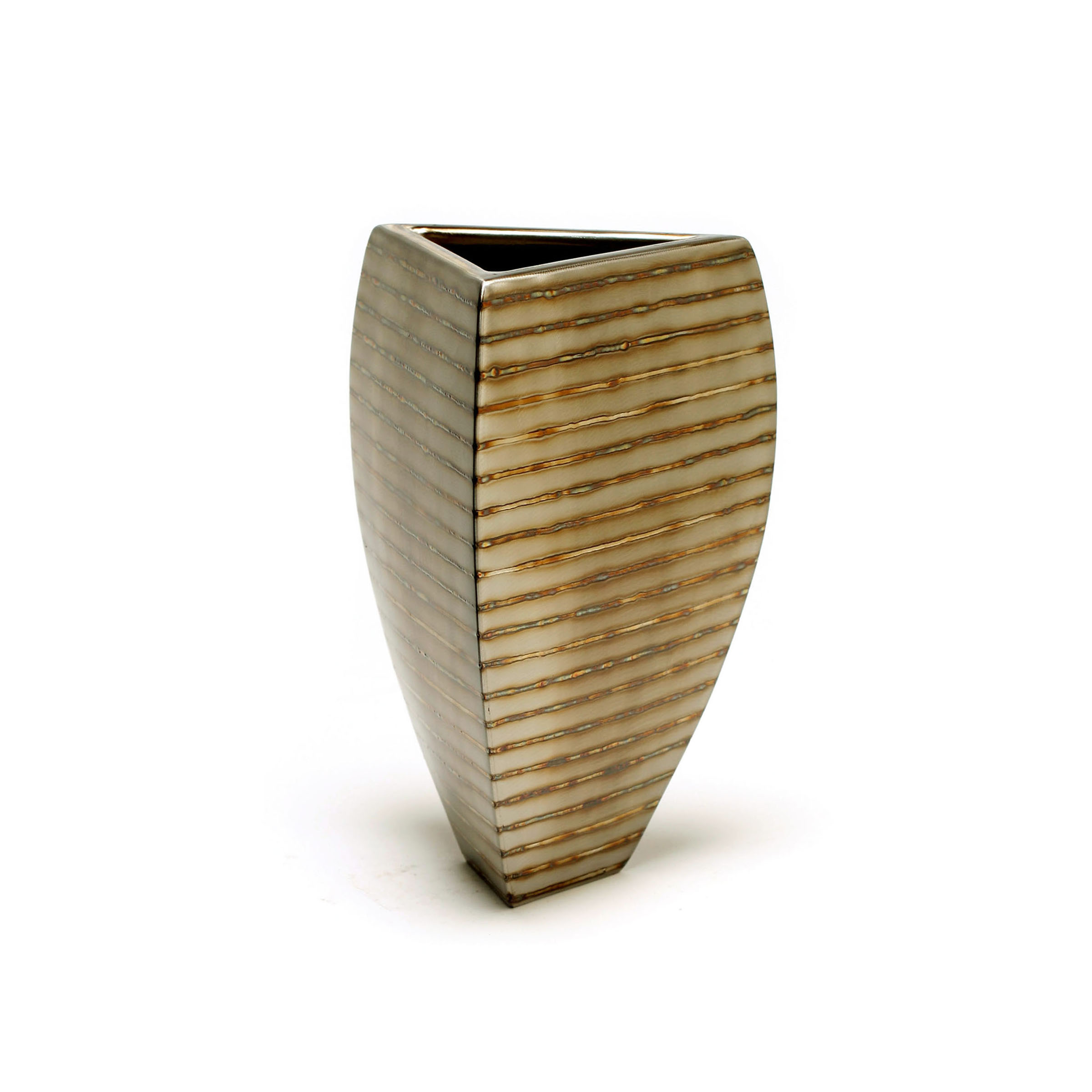"Tri-Bowl - horizontal stripe , 10 x 7"" x 7"", Stainless Steel"