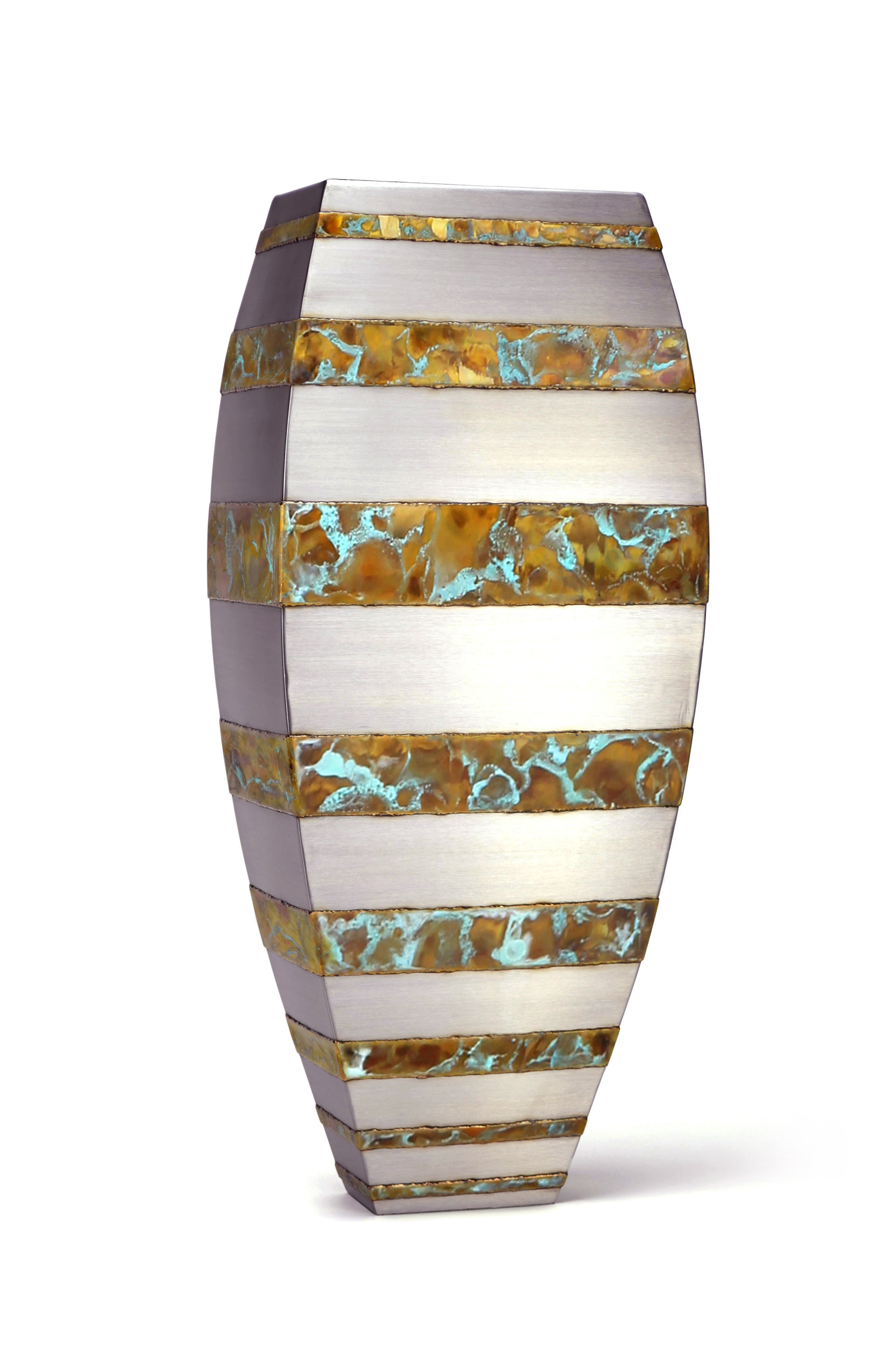 "Floor Vase - bronze strip ,   33"" x 14"" x 9"",   Stainless Steel, Bronze"