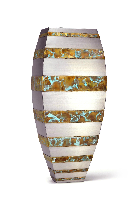 """Floor Vase - bronze strip , 33"""" x 14"""" x 9"""", Stainless Steel, Bronze"""