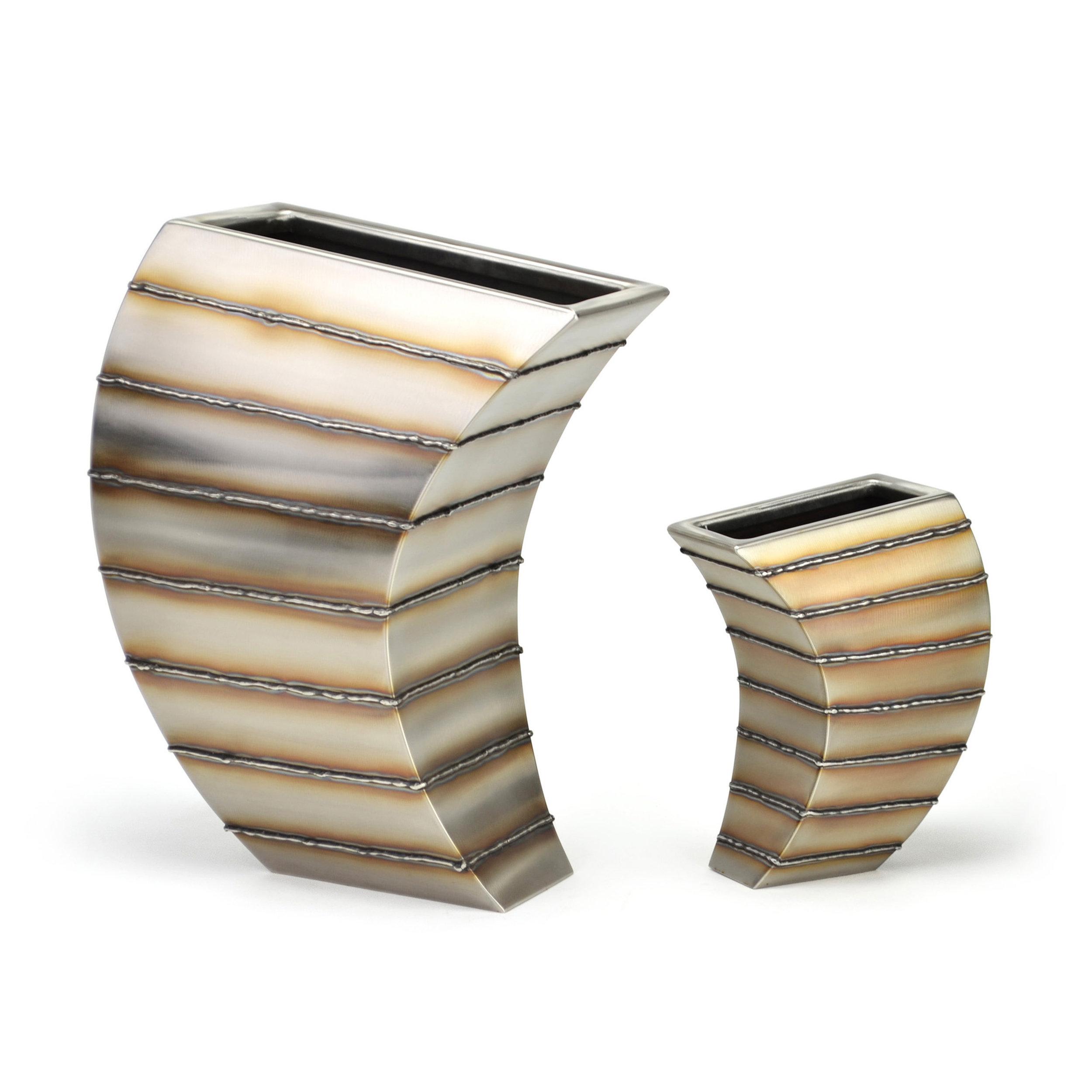"Sail - horizontal bead stripe , Small: 10"" x 7.5"", x 4"", Large: 17"" x 13"" x 7"", Stainless Steel"