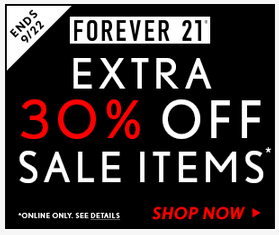 Forever 21 digital display ad. Pretty straight forward offer message and sense of urgency with end date.