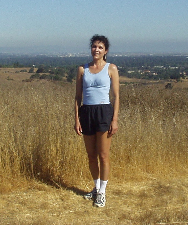 """Gina at the summit of the """" Dish"""" run at Stanford, after her 20th reunion.http://web.stanford.edu/group/runningclub/Runs/Dish.htm"""