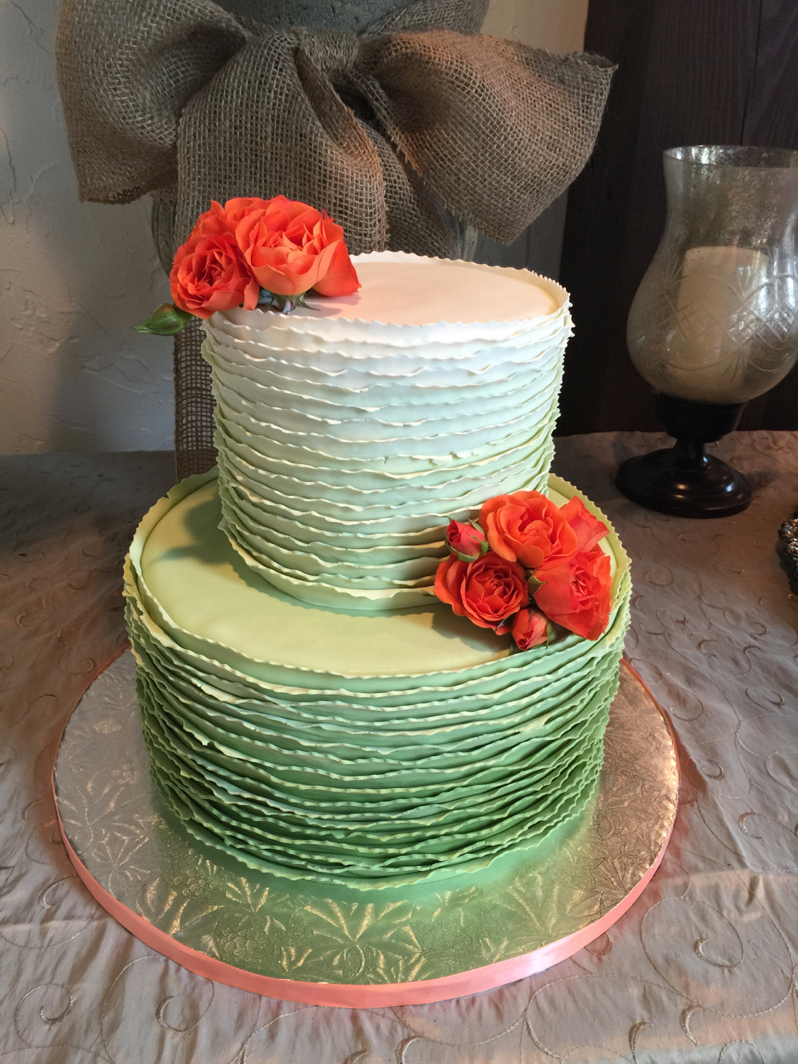 Baby shower cake: champagne cake with raspberry filling, courtesy of MISS PATTY CAKES of Kalispell, Montana