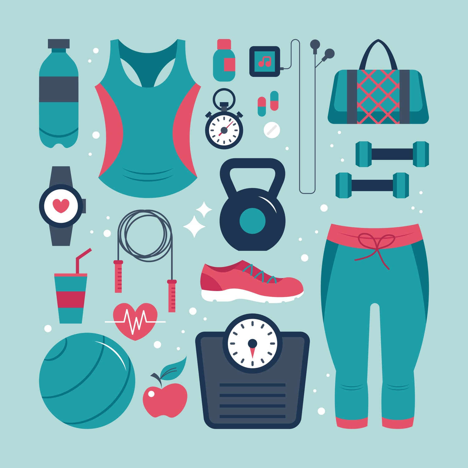 Fitness and health flat icons set.jpg