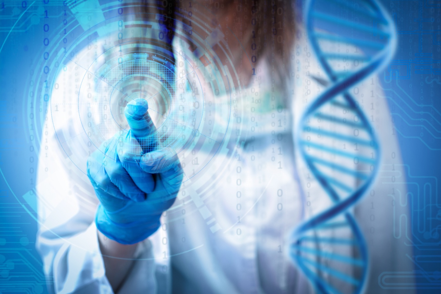 Female doctor or nurse touching futuristic hologram screen.  Genetic, medicine and innovative technologies concept..jpg