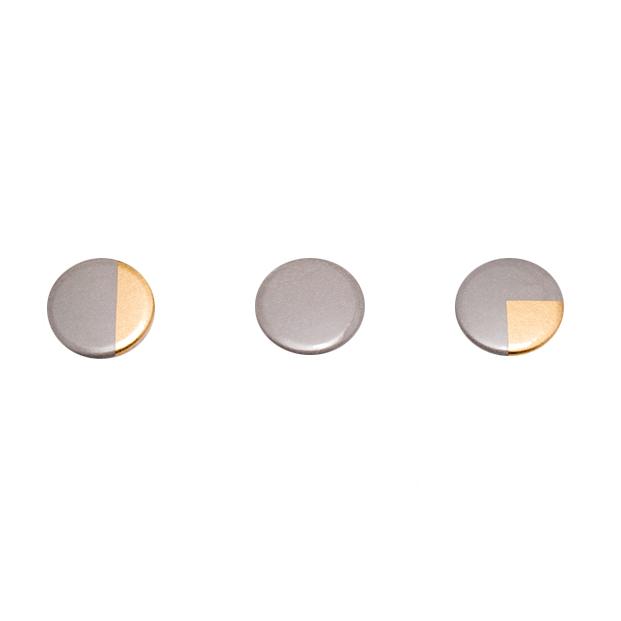 Sian Evans, Grey & Gold Fractions Badges, £7.50 (Set of 3)