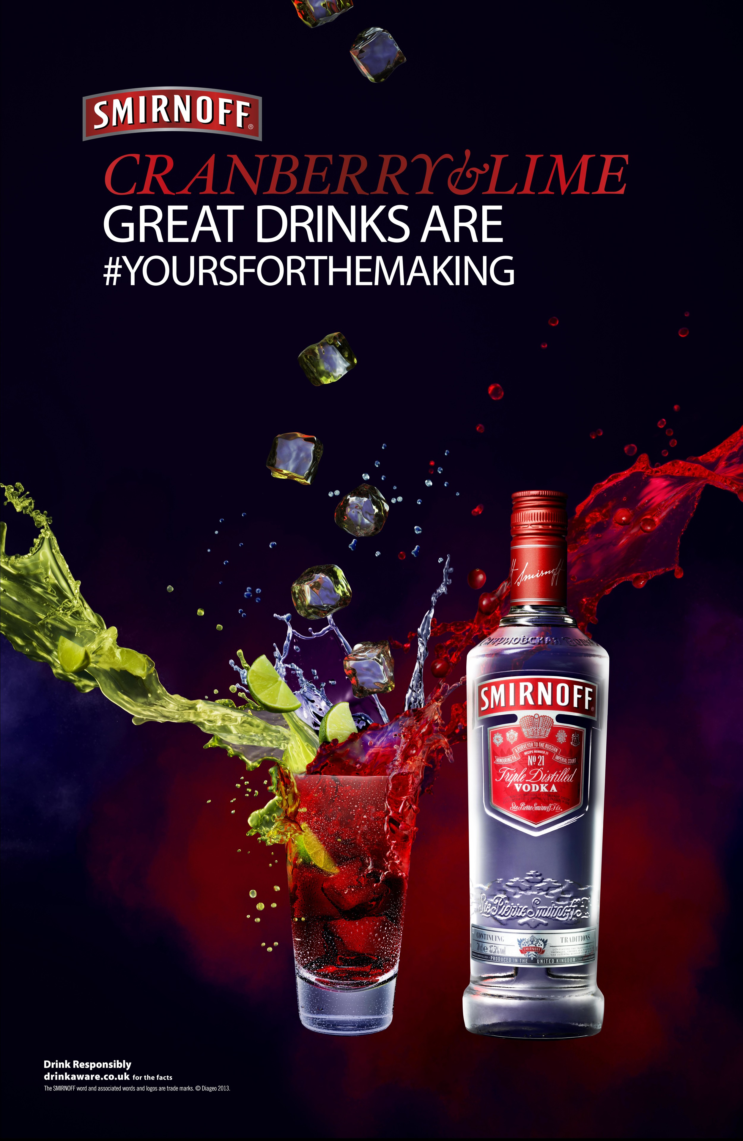 Smirnoff Cranberry and Lime  Photographer: Jonathan Knowles  Agency: JWT London