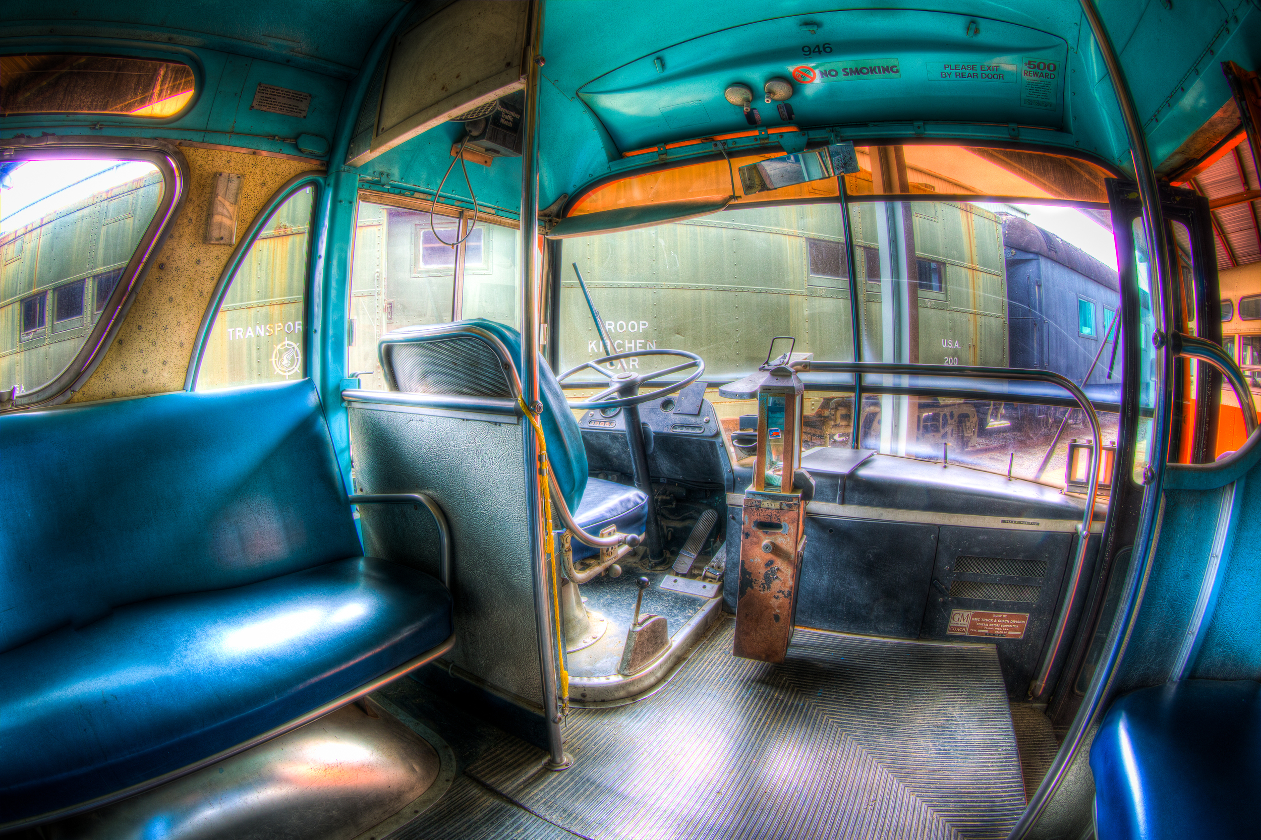 An image taken at the Southeast Railway Museum on an old bus.