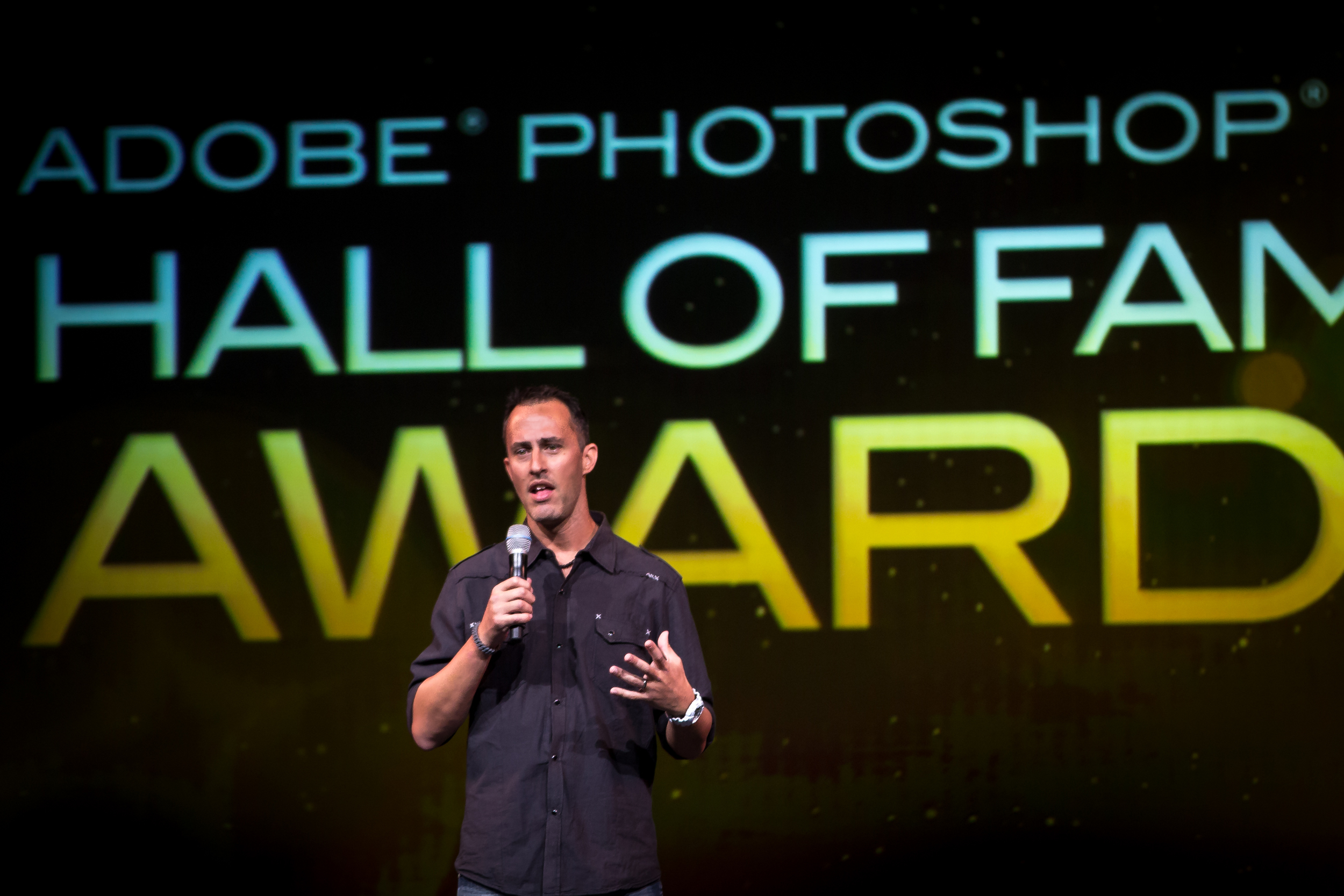 Matt Kloskowski being inducted into the Adobe Photoshop Hall of Fame.