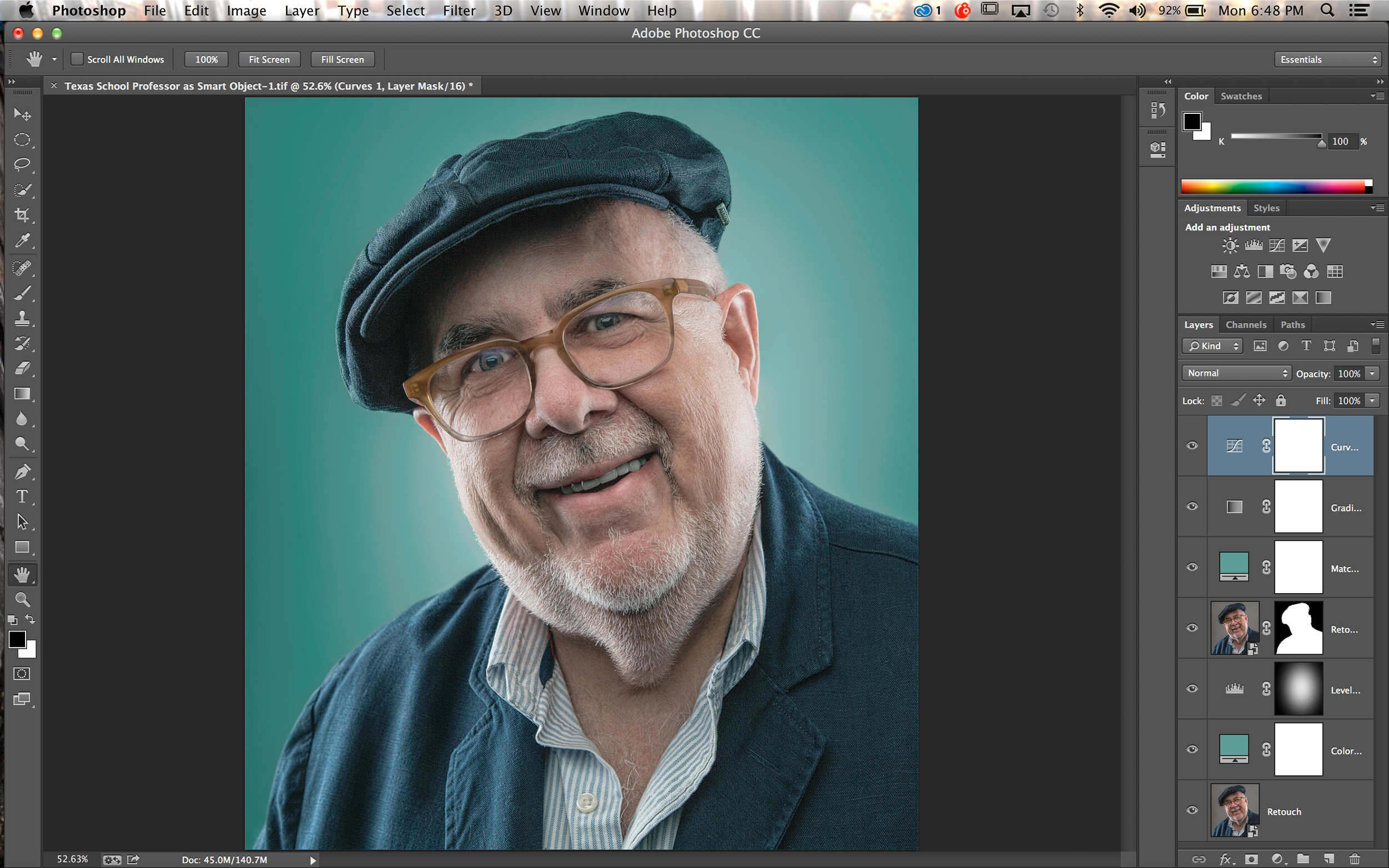 Screen shot of PS CC and processing of the image after some initial processing in Lightroom 5.
