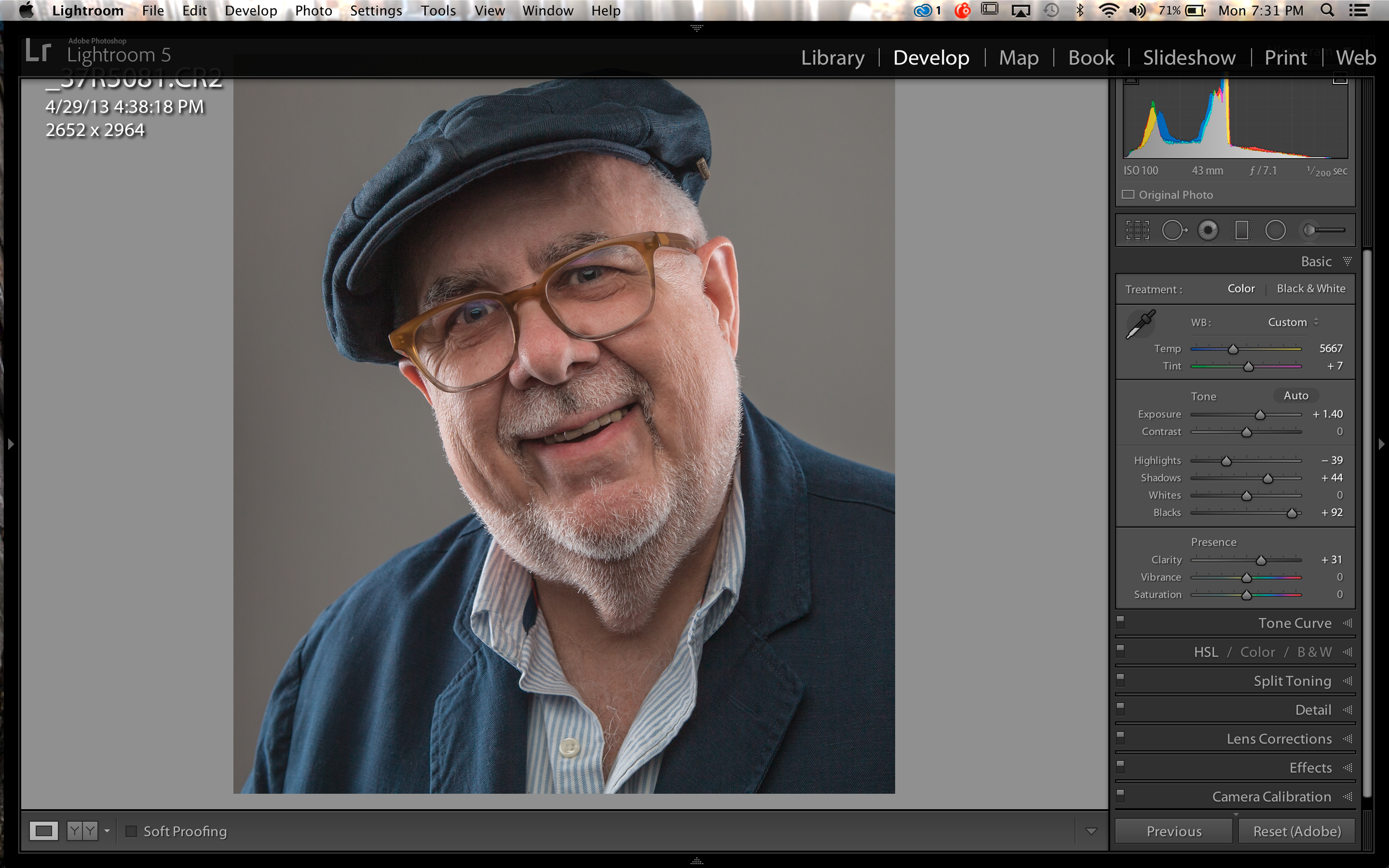 Raw image in Lightroom after processing and ready to go into PS CC.