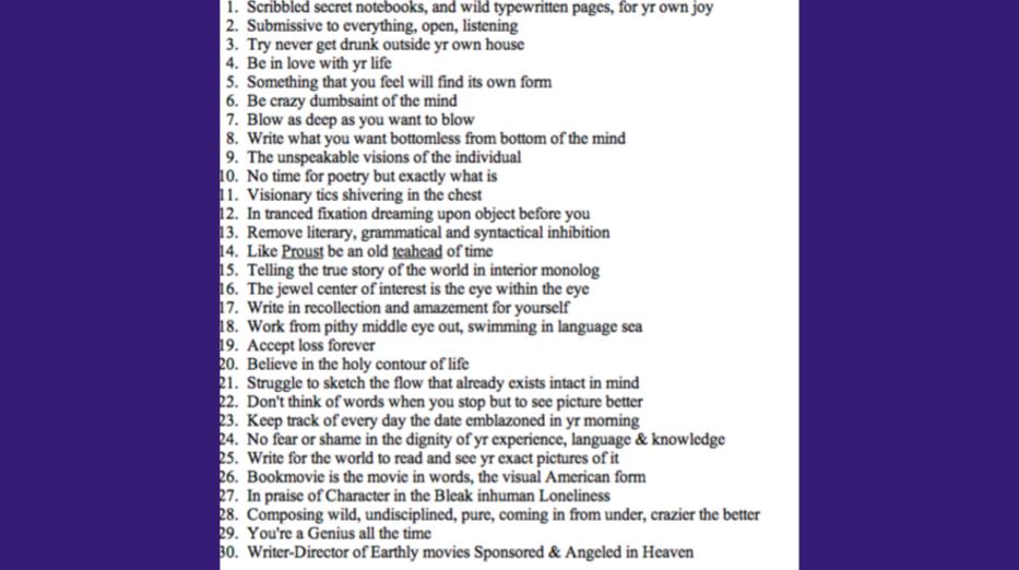 Jack Kerouac's rules of writing
