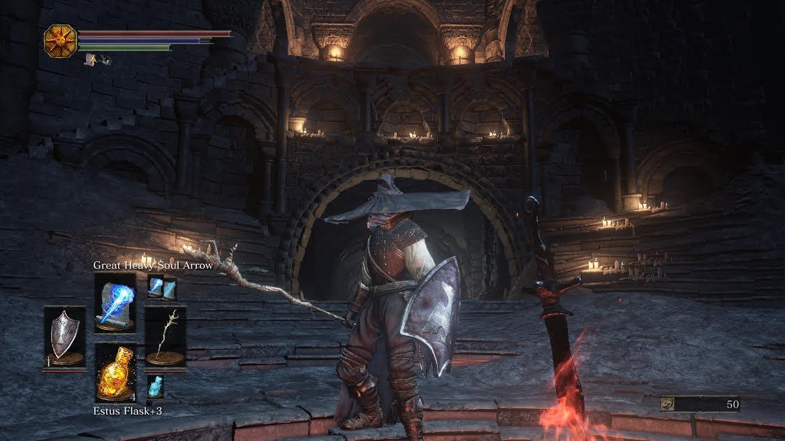 Almeira the Sorcerer rests at Firelink Shrine.