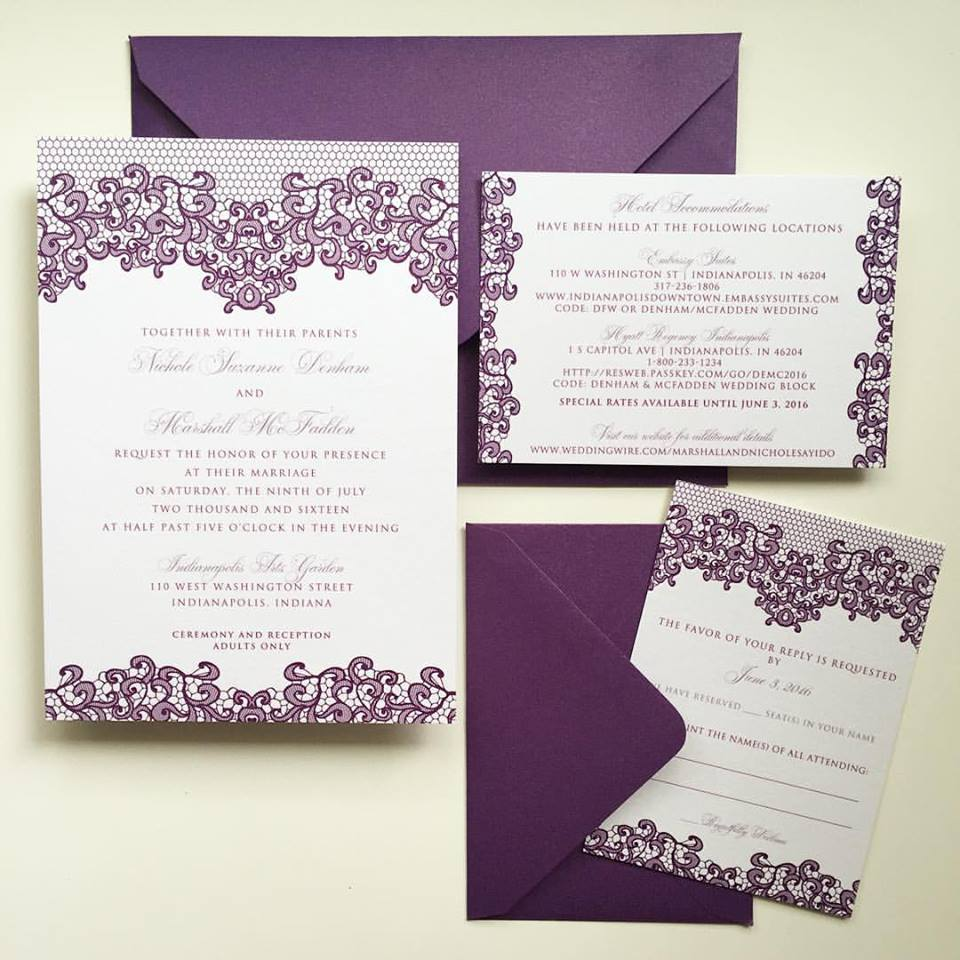 Customized in a color palette of white, orchid and violet. Upgraded with color mailing envelopes.