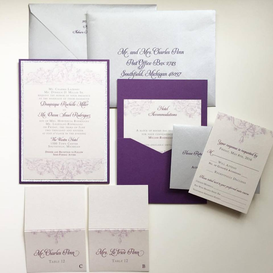 Customized in a color palette of platinum and violet. Upgraded with a back pocket panel/pocket holder, invitation backing layer and color mailing envelopes with printed addresses.