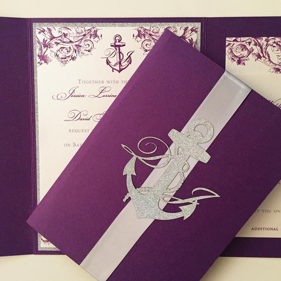 Customized in a color palette of platinum and violet. Upgraded with a trifold enclosure, invitation backing layer, ribbon band and special order laser cut monogram sticker.