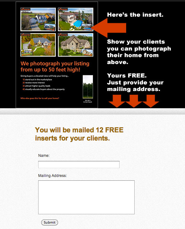 The landing page form.