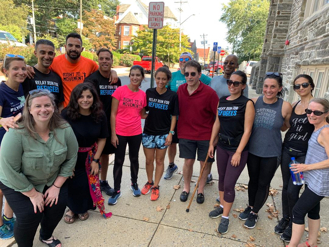 some of the unrwa runners and staff when they arrived on wilmington during the.  UNRWA Relay: the run of the century .  presentation in wilmington september 23.  the unrwa team ran on the next day to baltimore and washington d.c.