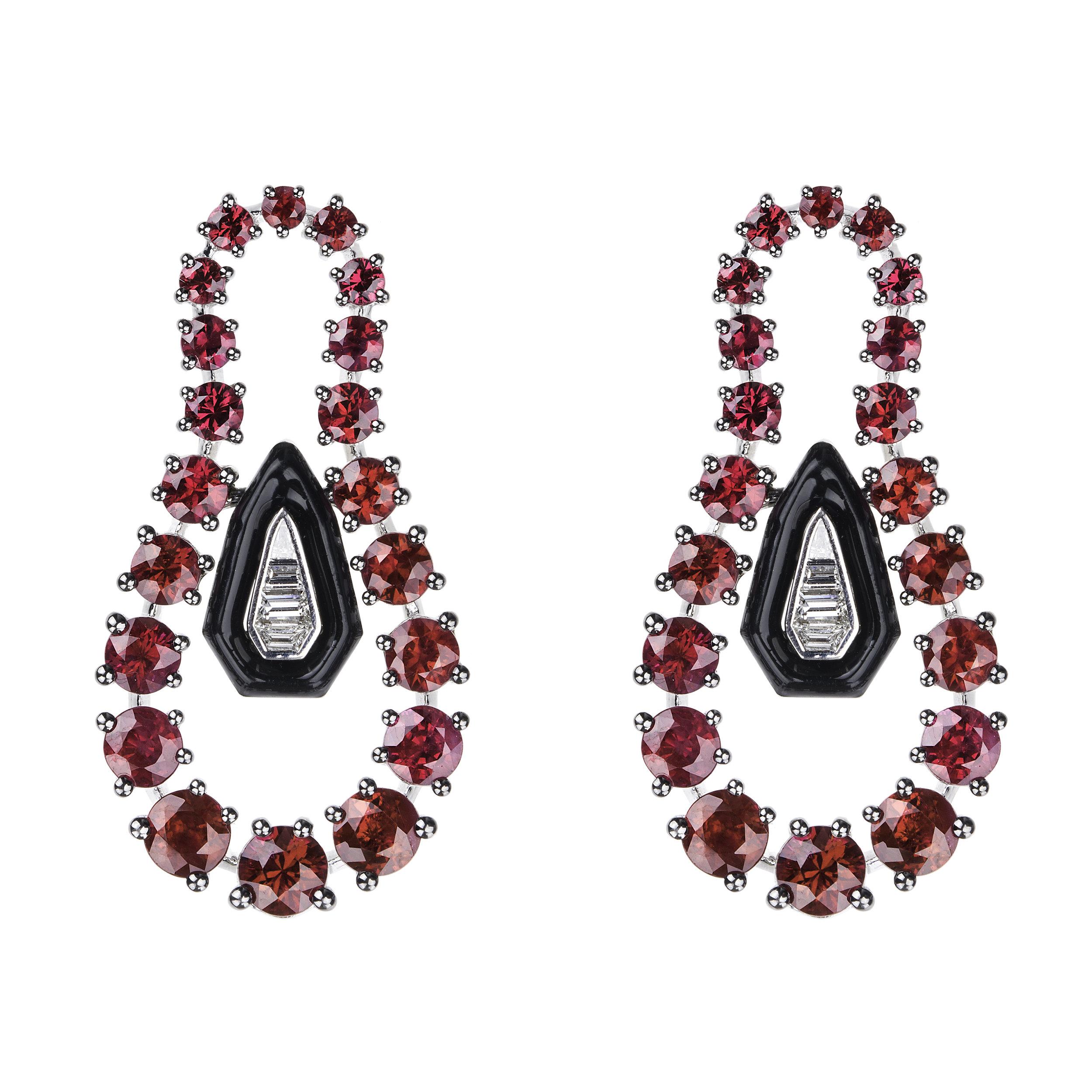 Nikos Koulis Ruby Blk Enamel Earrings.jpg