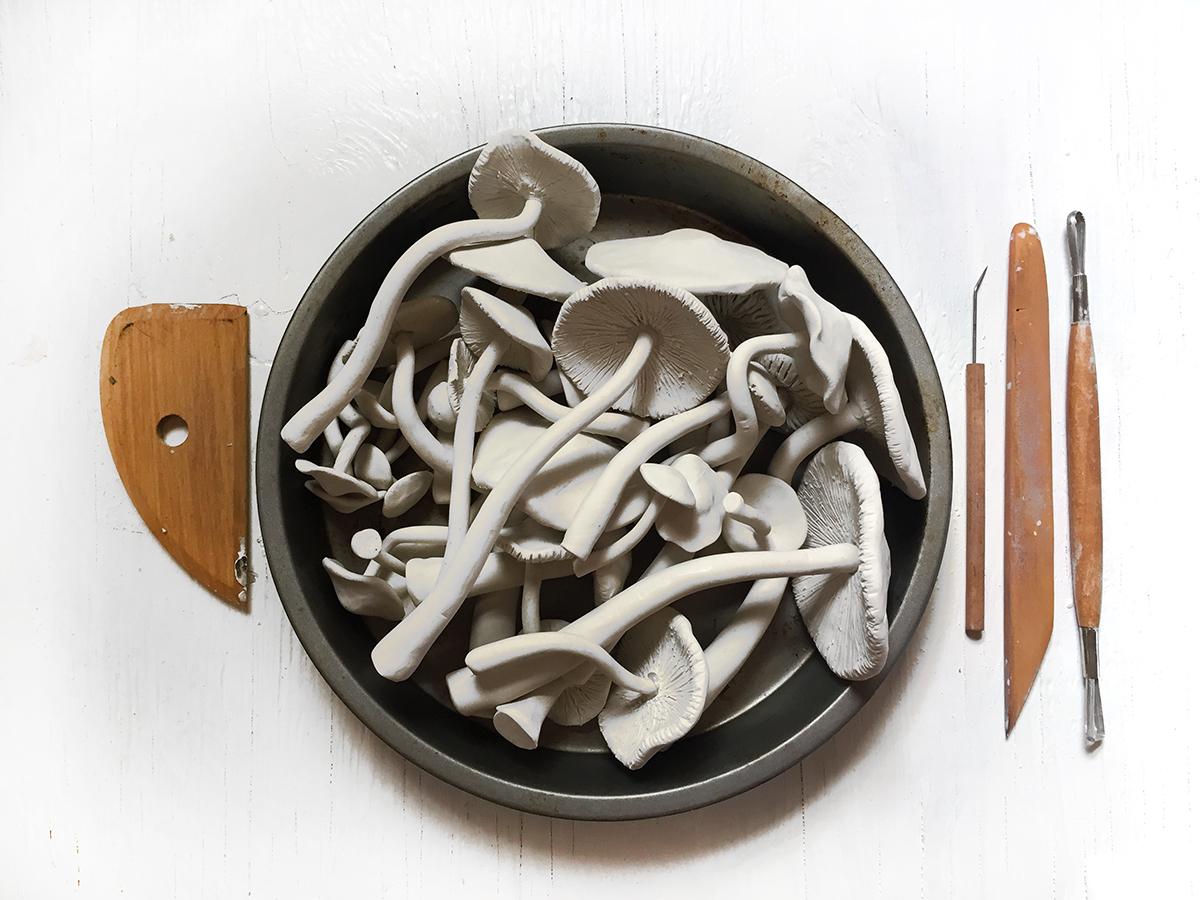 Hand sculpted mushrooms