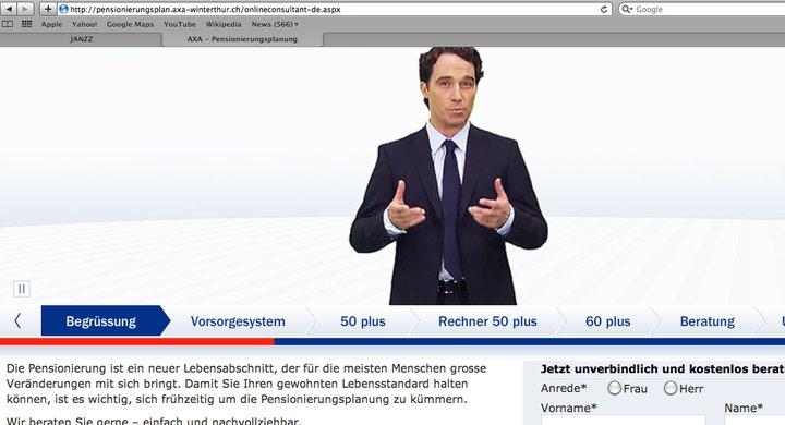Screenshot Internetwerbung AXA Versicherungen Pensionierungsplanung