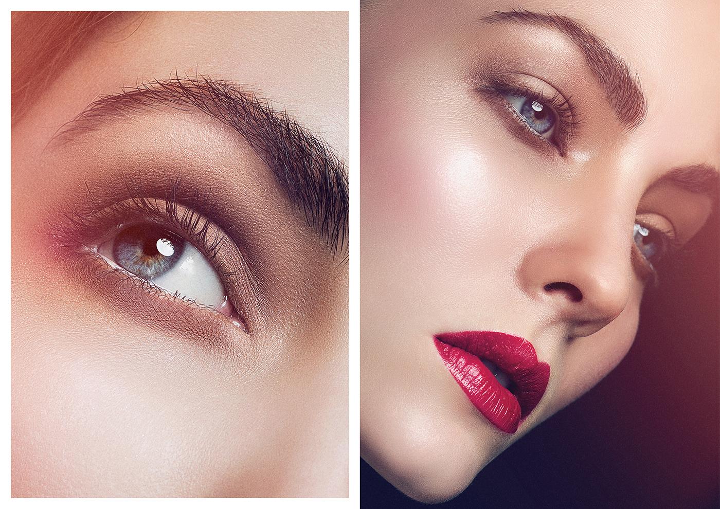 Makeup Artist Switzerland Zürich Madleina von Reding Beauty Editorial with red Lips Laurids Jensen Maskenbildner