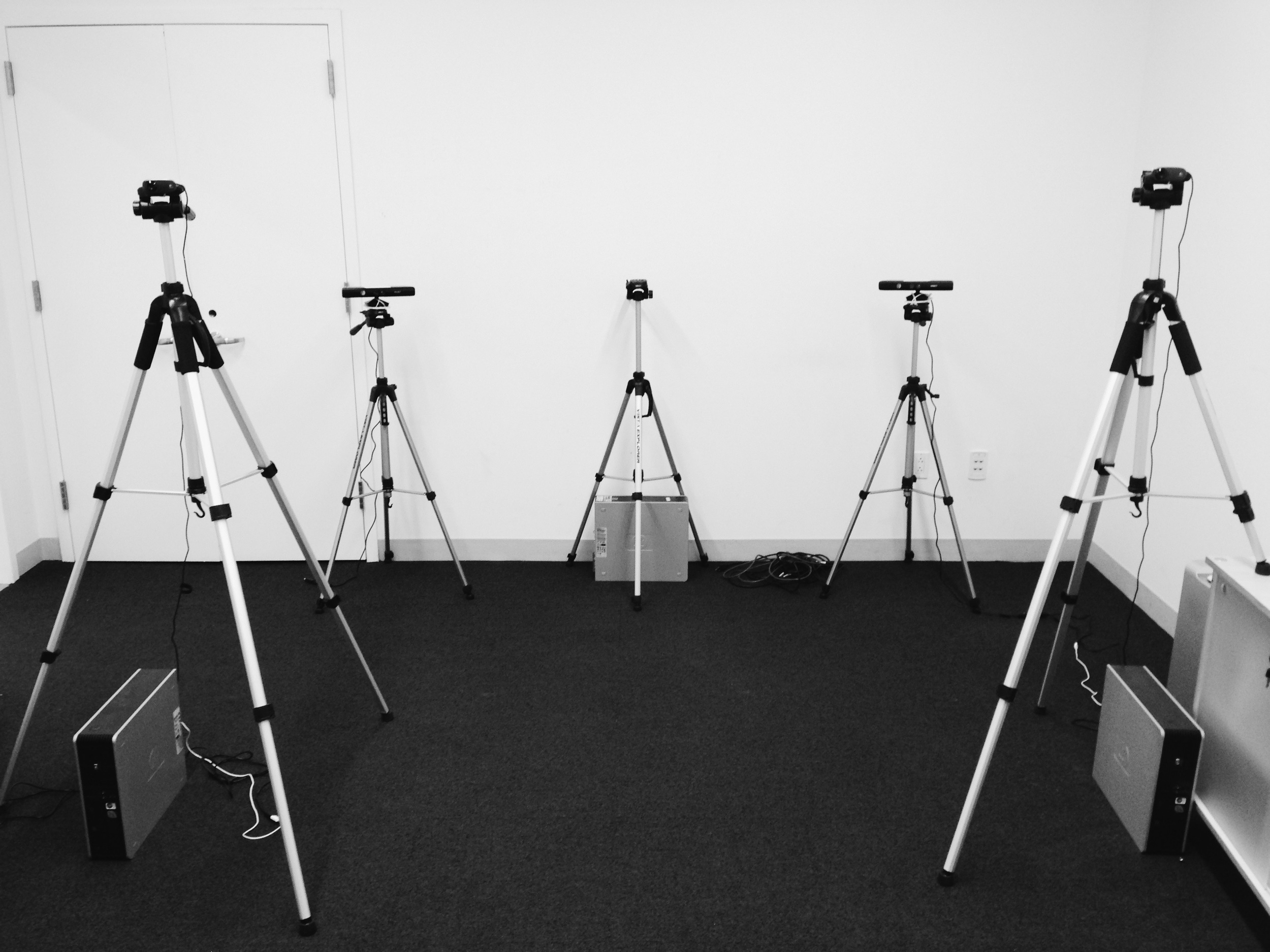 All tripods all the time: My development space.  Three depth cameras, two web cams, and three computers.