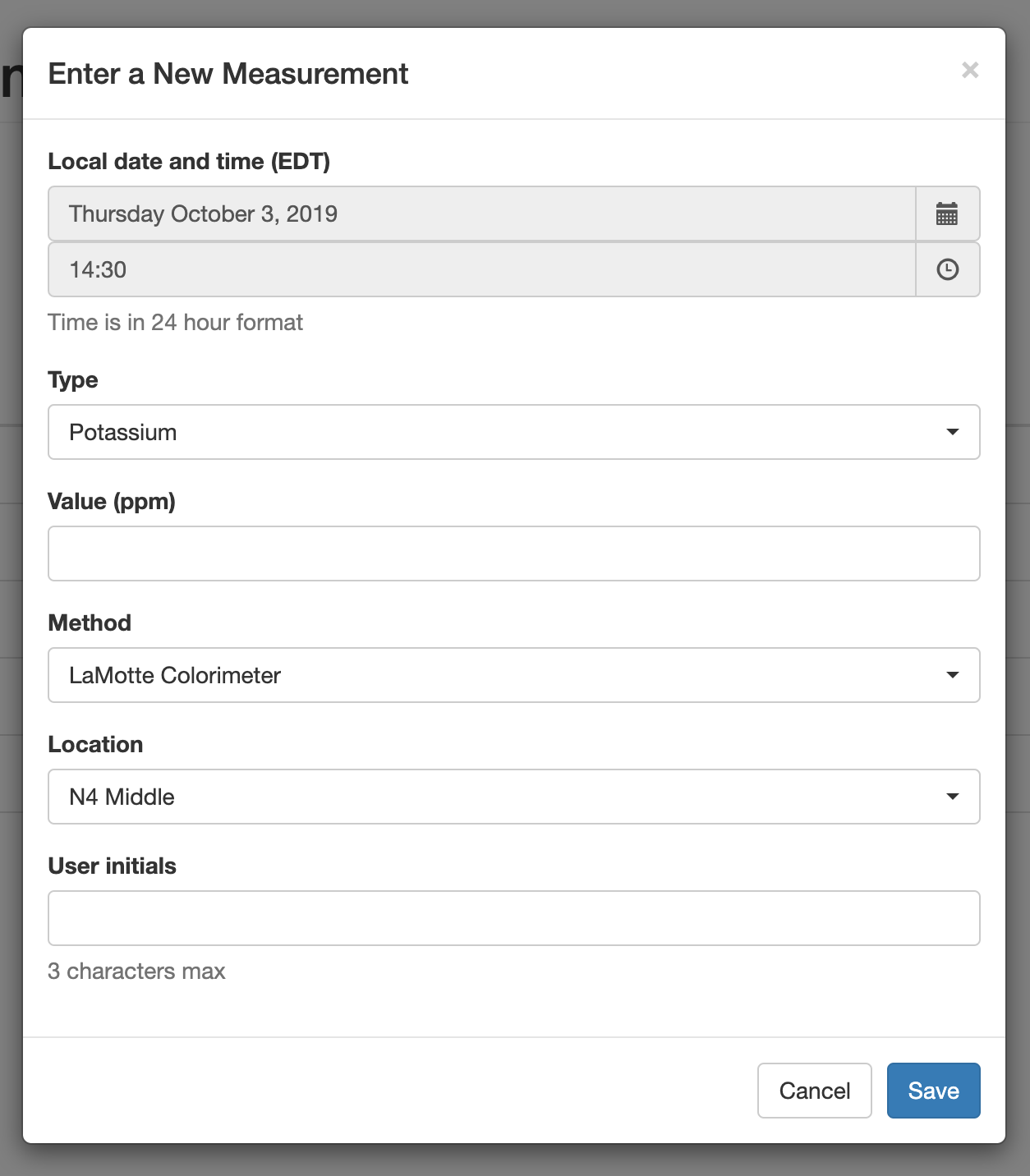 Custom web app for capturing environmental measurements
