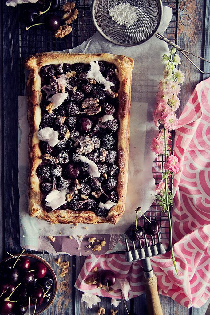 Open Cherry Candy Floss Pie