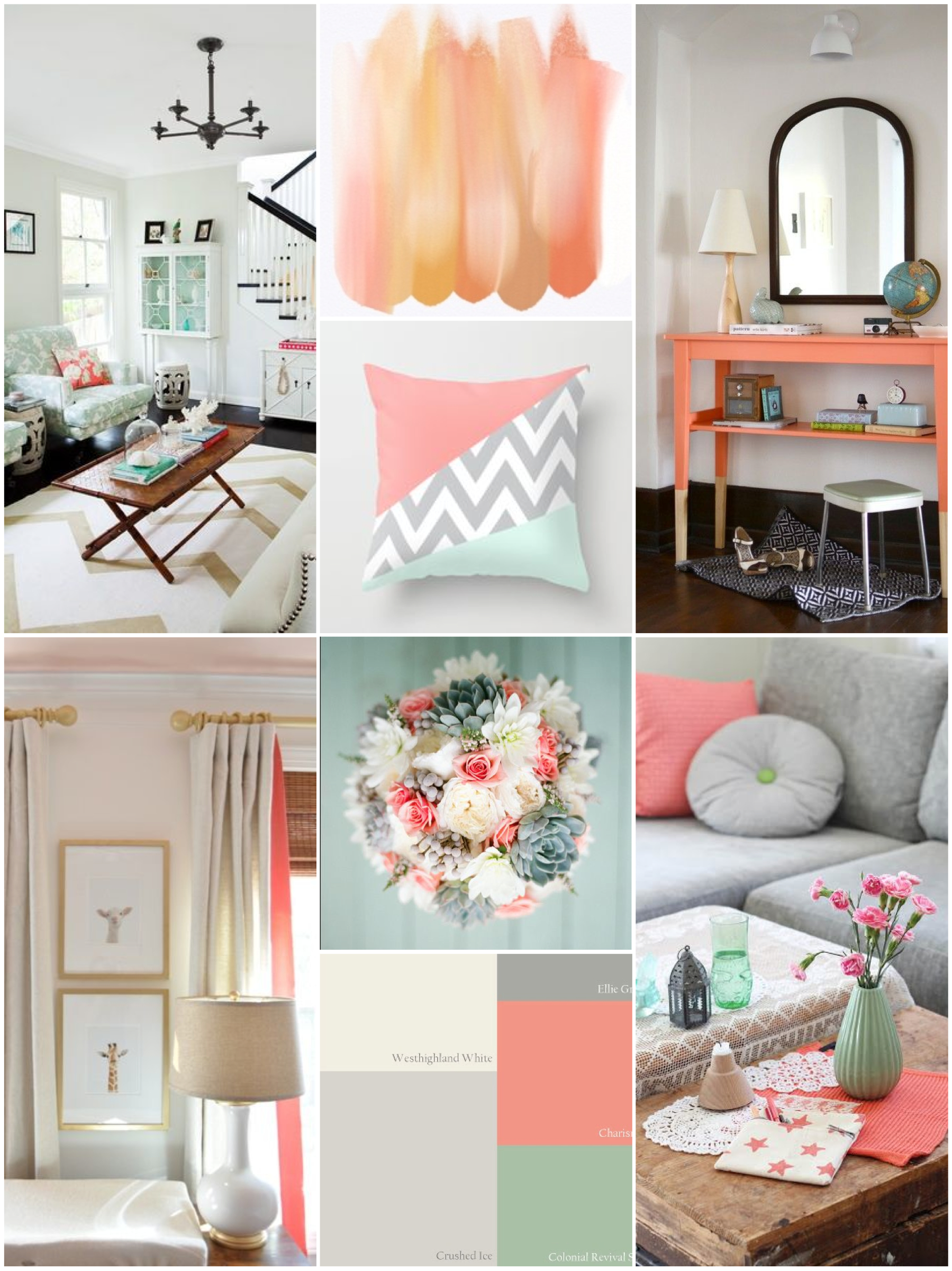 Gray gold and coral inspiration