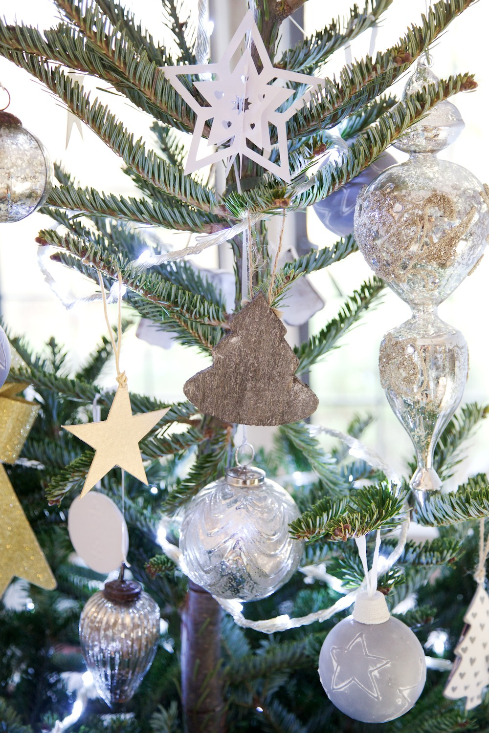 grey and white christmas decorations