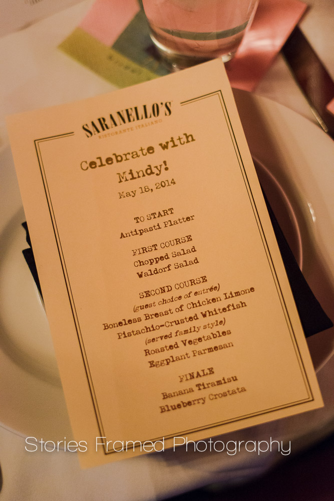 Stories Framed Photography | Saranellos Bridal Shower Menu