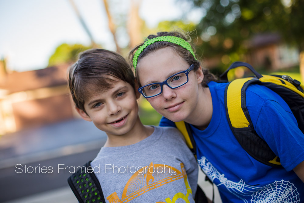 Siblings Back to School   Stories Framed Photography   Wauwatosa Family & Child Photographer