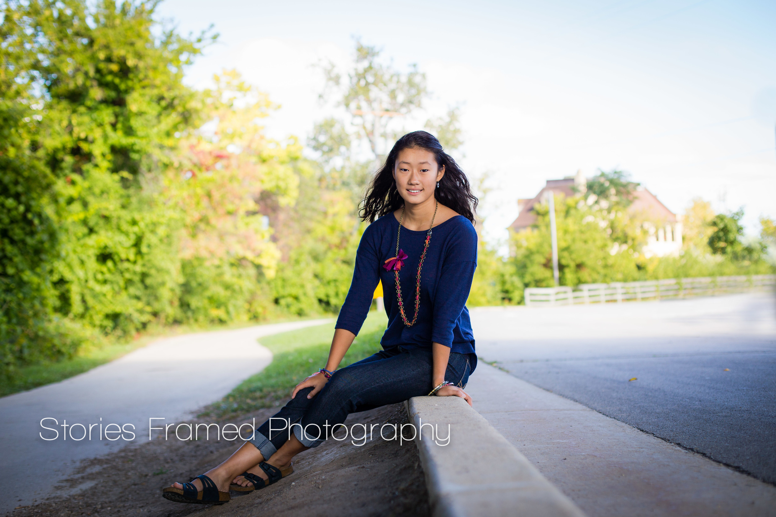 Stories Framed Photography | Senior | Class of 2015 | Elizabeth on curb