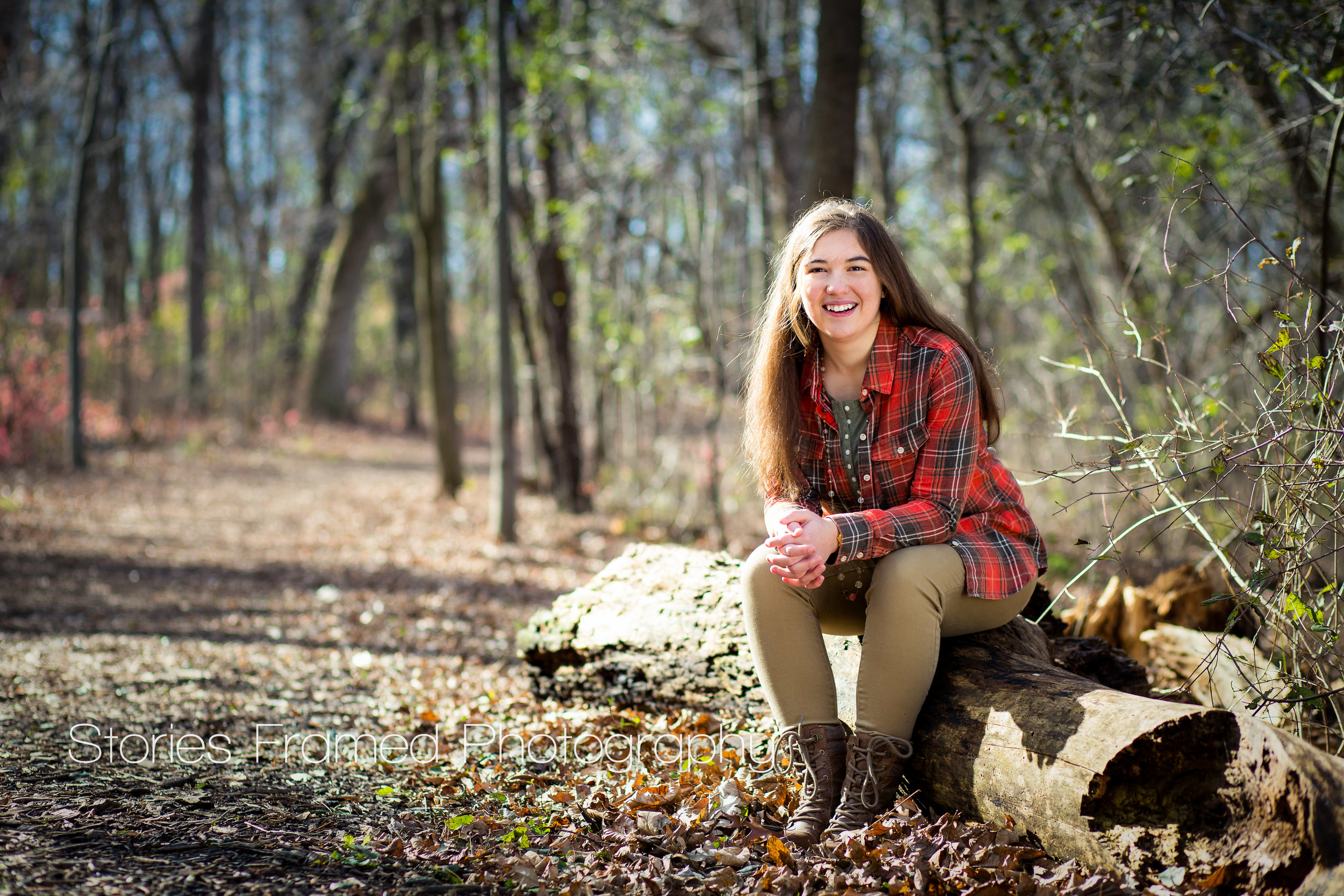 Stories Framed Photography | Pius XI class of 2015 | Mia | on a log