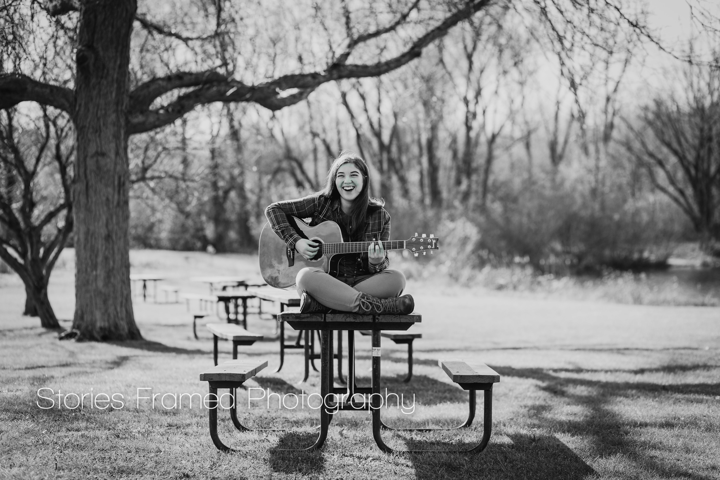 Stories Framed Photography | Mia in B&W | acoustic guitar